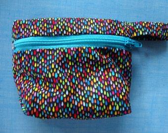 cotton zippered coin purse drops multicolor