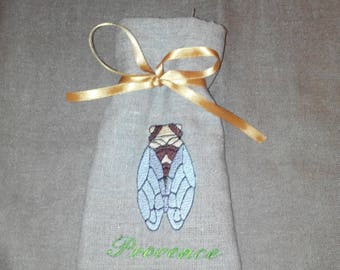 Lavender deco pouch in linen, embroidery cicada