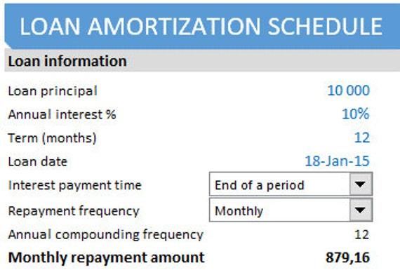 loan amortization schedule etsy