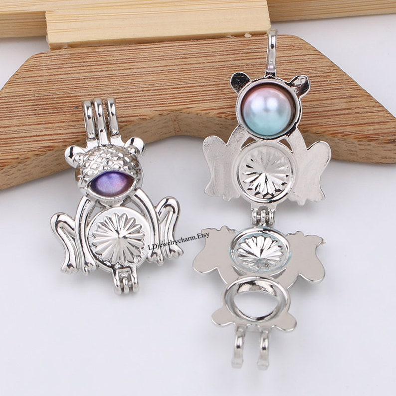 10pcs Dull Silver Frog Pearl Cage for Aromatherapy Essential Oil Diffuser Necklace Jewelry Making Charms