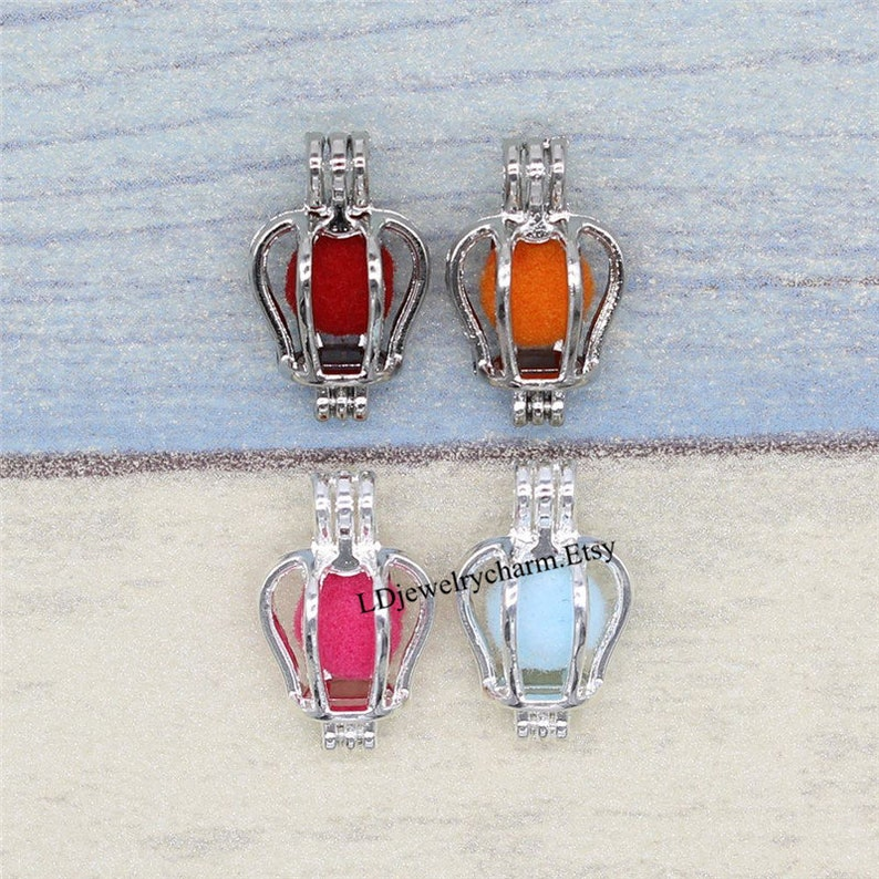 Mini Crown Charms Pendant 10pc Oyster Pearl Cage Bright Silver Locket Aromatherapy Essential Oil Diffuser Necklace Making