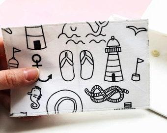 Carte postale à colorier, jeu imitation enfants, carte tissu à colorier, busy bags enfant, apprentissage école enfants, jeu de la poste