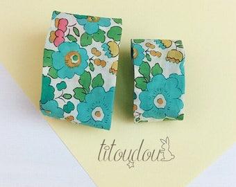Manchettes mère-fille tissu, Bracelets tissu Liberty Betsy vert, bracelet manchette mère-fille, bijou tissu fleuri vert, cadeau fête des mèr