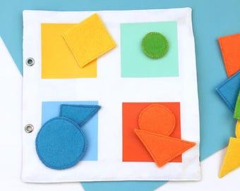 Quiet / busy book, page livre d'activité,  livre tissu, apprendre couleurs, trier par taille, jouet Montessori, cadeau enfant
