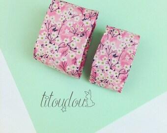 Bracelets mère-fille, Manchette tissu Liberty, bracelet manchette en tissu rose fleuri, bijou tissu fleuri