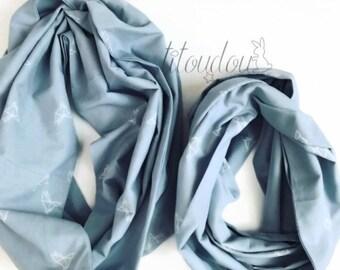 Snoods mère-fille/mère-fils, écharpe infinie tissu bleu origami, châle d'été et demi-saison, tour de cou casual chic, cadeau fête des mères