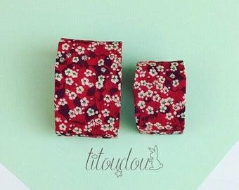 Bracelet mère-fille, bracelet manchette rouge,  bijou tissu Liberty, manchette en tissu fleuri, manchette mère-fille