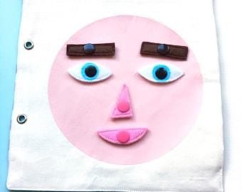 Livre d'activité tissu enfant 2 ans, page quiet book, apprentissage émotions enfant, jeu Montessori enfant 2 ans, jouet éducatif  enfant