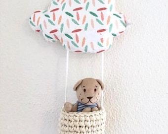 Nuage à doudou, suspension murale crochet, mobile mint corail, déco chambre bébé, range doudou / attache tétine, décoration chambre enfant