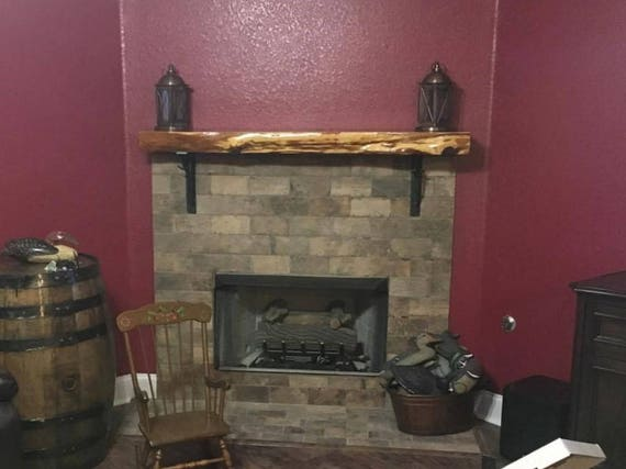 Floating Fireplace Mantel w/ Lived Edge