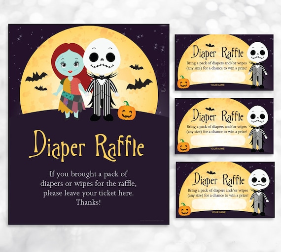 Nightmare Before Christmas Diaper Raffle Sign And Card Etsy