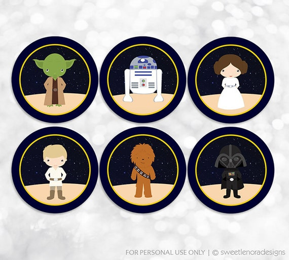 star wars printable party tags stickers labels cupcake