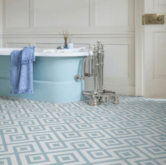 Sample Granada Blue Sheet Vinyl, Blue Bathroom Flooring