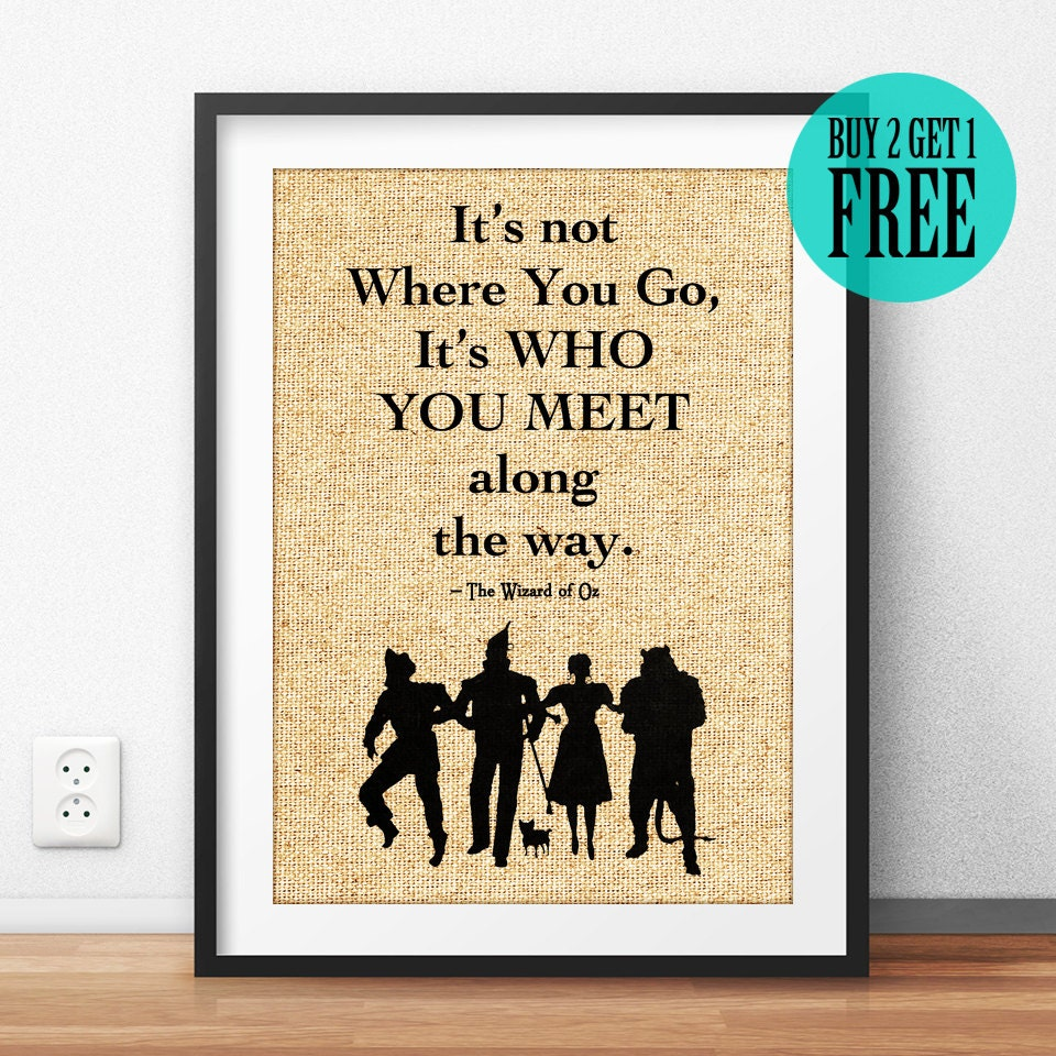 Wizard of Oz Print Burlap Print Literary Quote