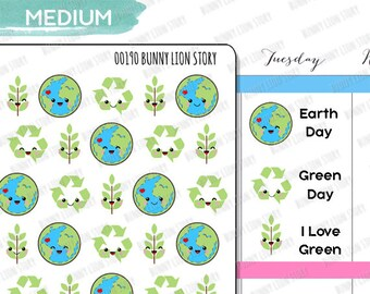 00190 | 35 Environment Study Earth Eco Green Environmental Cute Kawaii Agenda Diary Journal Schedule Reminder Scrapbook Planner Stickers