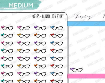 00125 | 48 Glasses Reading Searching Browsing Important Urgent Look UpCute Kawaii Agenda Diary Journal Schedule Reminder Planner Sticker