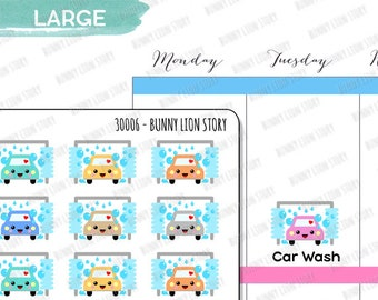 30006 | 24 Car Wash Appointment Car Cleaning Washing Cute Kawaii Agenda Diary Journal Reminder Schedule Scrapbook Project Planner Stickers