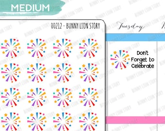 00212 | 24 Fireworks Celebration New Year Party Happy Day Achievement Appointment Reminder Schedule Kawaii Planner Agenda Journal Stickers