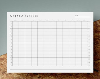 Open Dated Yearly Planner Printable | Any Year Calendar | 12 Month Overview | Minimalist | Black White | A4 | US Letter | Instant Download