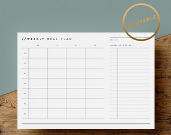 Weekly Meal Plan Printable   Meal Schedule   Grocery Shopping List   Dinner Planner   Meal Prep   A4   US Letter   Instant Download