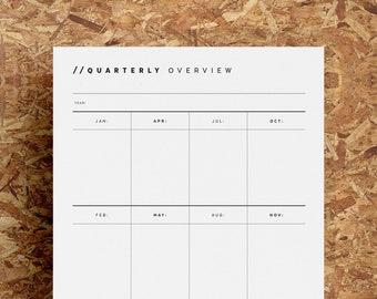 Quarterly Overview Printable | Undated Project Organiser | Year At A Glance | Minimalist | Black White | A4 | US Letter | Instant Download