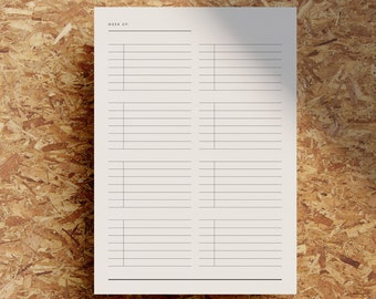 Lined Weekly Task List | Printable Undated Week Planner | Week At A Glance | Minimalist | Black White | A4 | US Letter | Instant Download