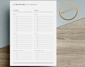 weekend planner printable to do list inserts day tasks shopping minimalist black white a4 a5 us letter instant download