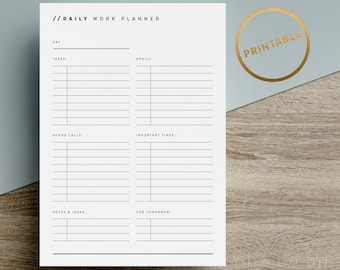 Daily Work Planner Printable | Planner Pages | To Do List Inserts | Task | Minimalist | Black White | A4 | A5 | US Letter | Instant Download