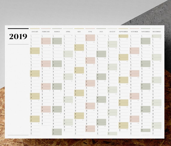 Printable PDF A2 Landscape Wall Planner 2019 Large Full Etsy