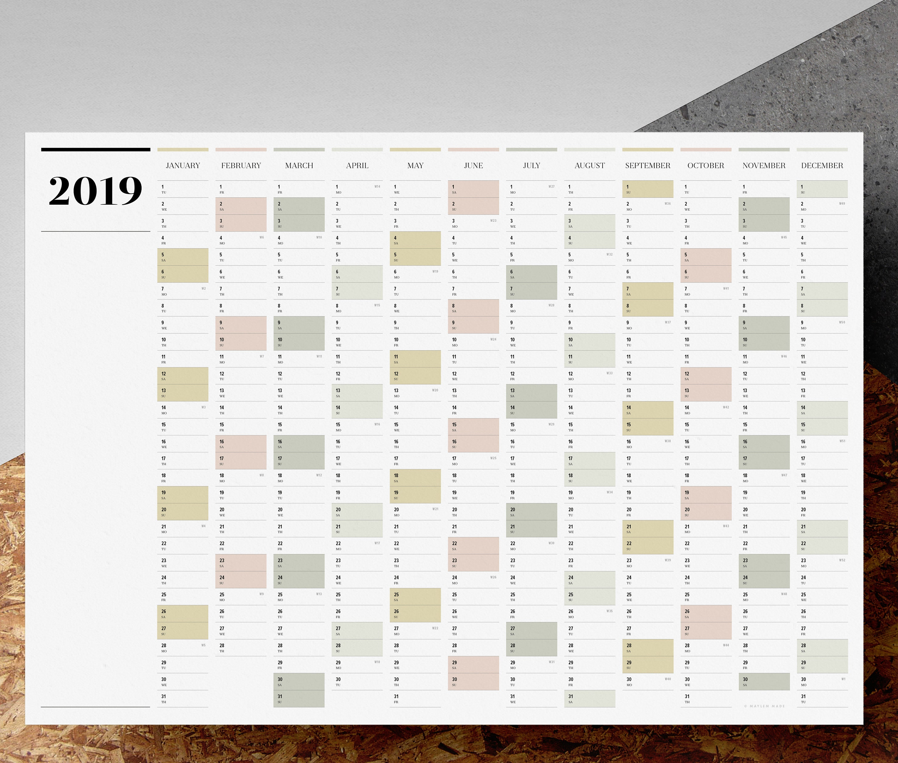 Printable PDF A2 Landscape Wall Planner 2019 Large Full
