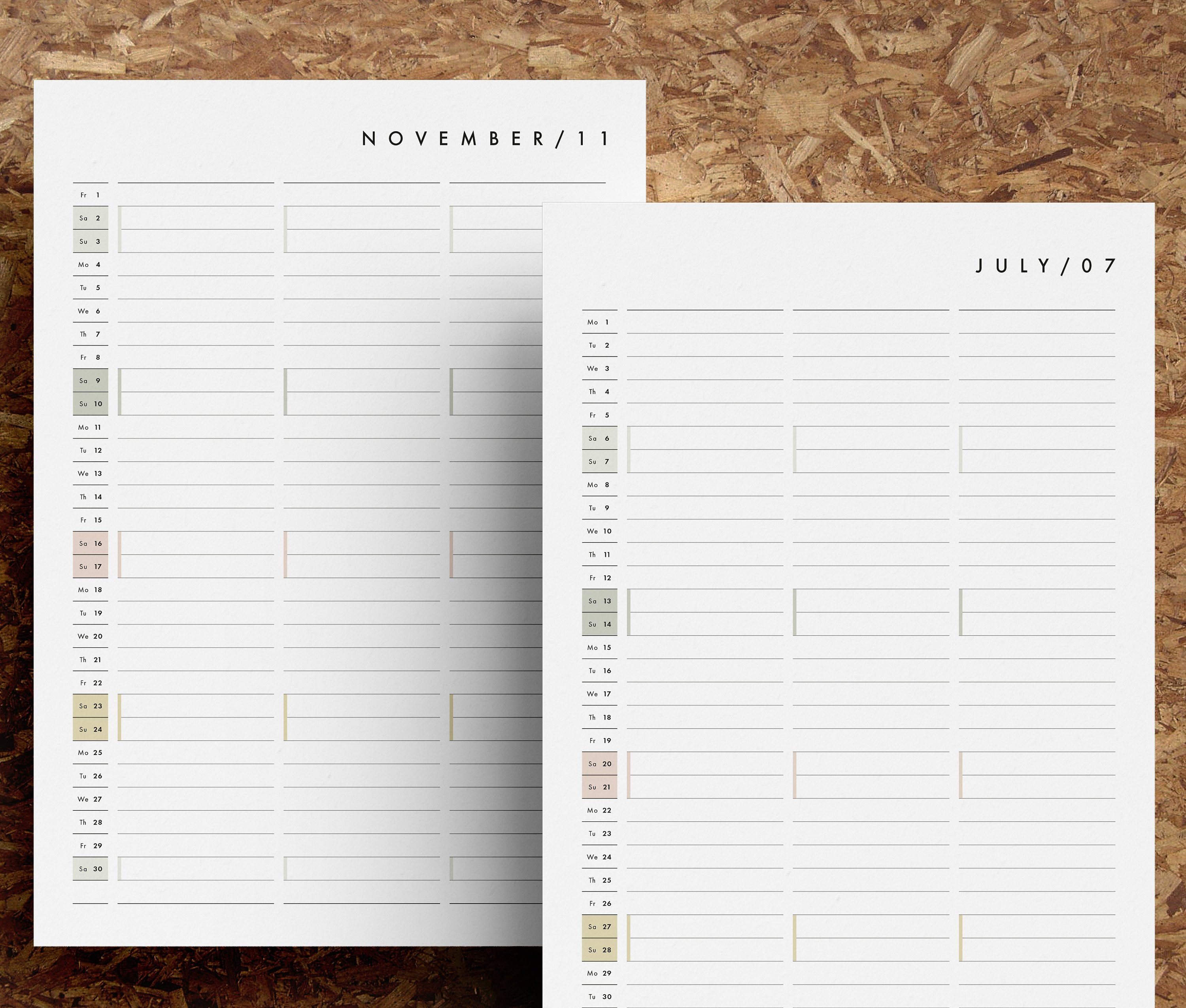 2019 Monthly Calendar Printable PDF 12 Month Calendar