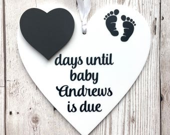Baby Countdown Sign ~ Pregnancy Gift ~ Baby Shower Gift ~ Baby Countdown Plaque ~ Pregnancy Countdown Sign ~ Personalised Baby Countdown