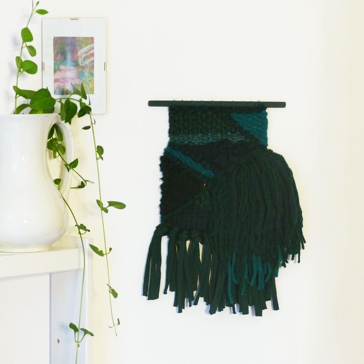 Baguette En Bois Decorative green wall weaving, woven wall decor, bohemian decorative wall hanging,  fiber art, gift for home, woven, decoration, nayquach