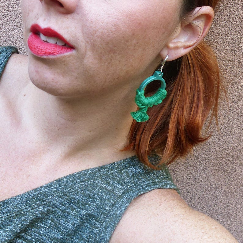textile jewelry jewelry tassel small round earrings macrame jewelry Green Bohemian hoops nayquach gift for woman