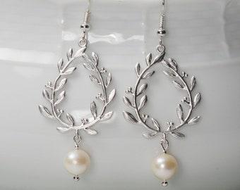 Silver Laurel Earrings, with Swarovski Pearls. Silver Pearl Earrings. Silver Leaf Earrings. Silver Chandelier Earrings.