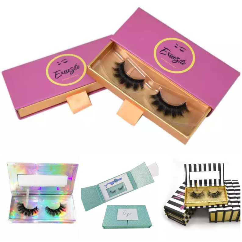 100 LASHES + 100 BOXES Custom Eyelash Storage Wholesale Bulk Custom  Packaging Add Your Logo Start Your Own Mink Lash Line FREE Logo Design