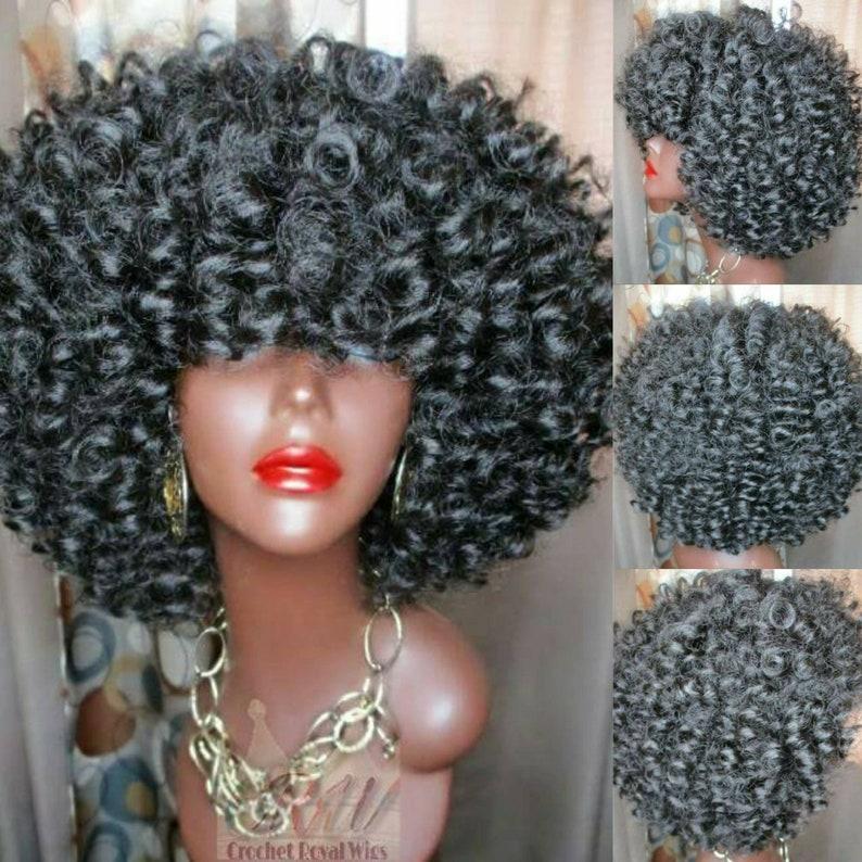 Crochet Wig Afro Kinky Curly Kanekalon Marley Hair Crochet Etsy