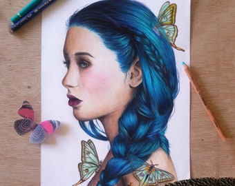 ART COMMISSION Made to order drawing of a colorful portrait