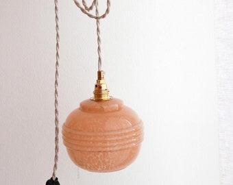 Vintage globe stroller lamp in speckled pink clichy glass