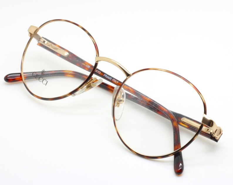 429fed0f0aa4e Vintage Panto Shaped Designer Glasses By GUCCI GG1336 With A Gold And Dark  Havana Finish