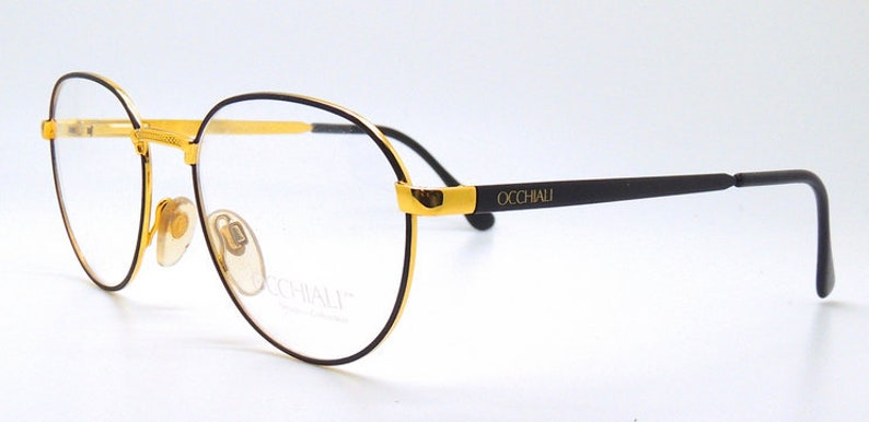 0f0c35077485c Occhiali 2248 Handmade In Italy Carousel Panto Black and Gold Glasses