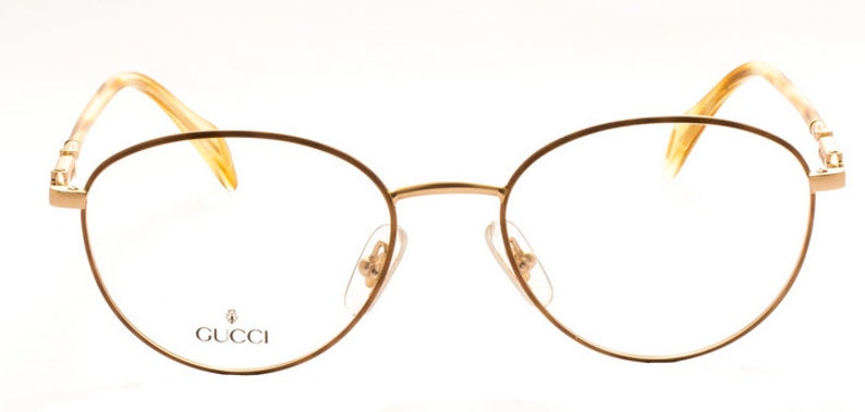 2b1f0986985fd Classic Panto Shaped Vintage Eyewear By Gucci 2384 Matt Gold And Turtle  Effect Glasses