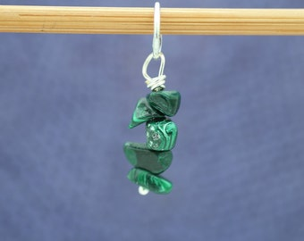 Malachite Knitting Stitch Marker, Semi-Precious stone, Gemstone Marker, Knitting Tools, Crochet Tools, Gift for Knitters, Gift for Crocheter