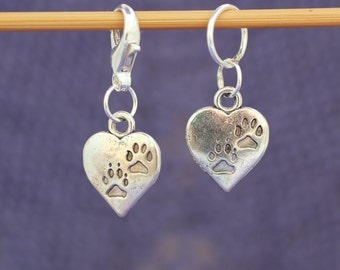 Heart and Paws Knitting or Crochet Stitch Marker, Knitting Stitch Marker, Crochet Marker, Knitting Tools, Crochet Tools, Gift for Knitters