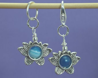 Lotus and Blue Banded Agate Knitting or Crochet Stitch Marker, Knitting Tools, Gift for Knitters, Crochet Tools, Buddhist
