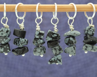Snowflake Obsidian Stitch Marker Set, Gemstone Markers, Gift for Knitters, Knitting Tools, Crochet Tools, Gift for Crocheters,Crochet Marker
