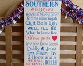 Southern sign Sweet Sassy Wood Hand Painted Sign Bless your heart Southern girls words of the south southern belle sign chose any colors