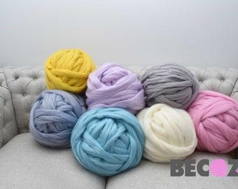 Chunky Knit Yarn, Chunky Vegan Yarn, Super Bulky Yarn,Arm Knitting Yarn