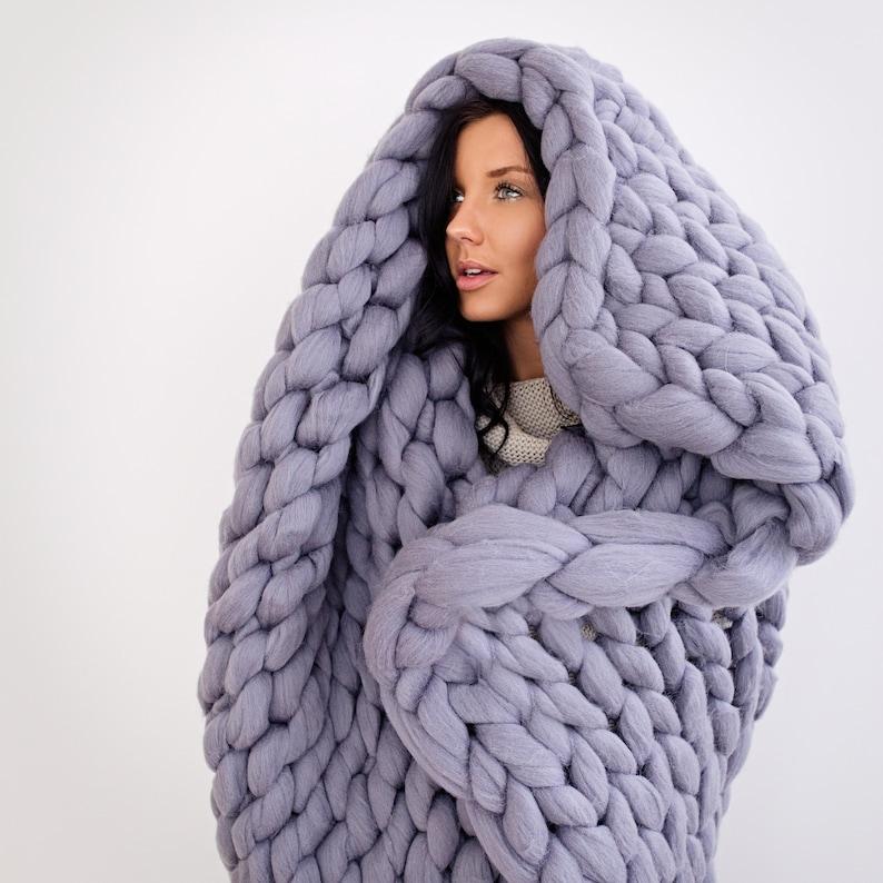 8d95ae6fcb0057 Chunky Knit Blanket Merino wool BlanketGiant Knit Throw