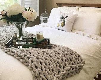 Chunky Knit Blanket, Chunky Chenille yarn, Arm Knit Blanket, Giant knit, Giant knit throw,
